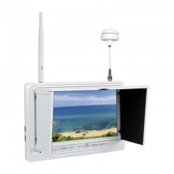 "Feelworld FPV-718 5.8G 7"" FPV Monitor with Built-in Dual 32Ch Diversity Receivers (Black/White)"